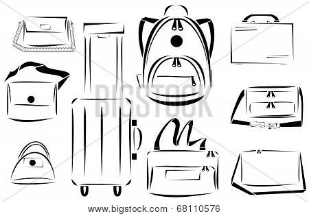 Design of bags icon vector set
