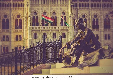 Attila Jozsef (1905-1937), Hungarian poet statue front of the Parliament