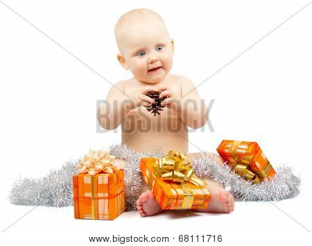Healthy child holds bump and gift boxes