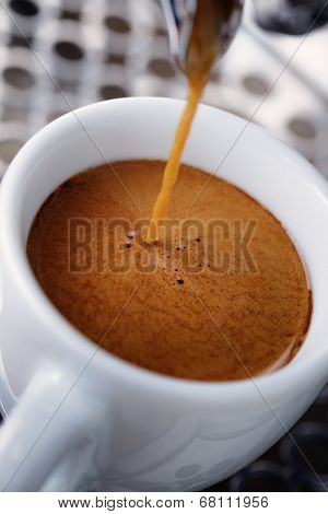 Pouring Simple Espresso With Coffee Machine