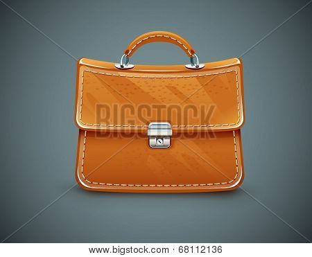 Leather briefcase. Eps10 vector illustration on dark background