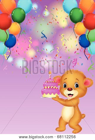 Cute baby bear cartoon holding birthday cake