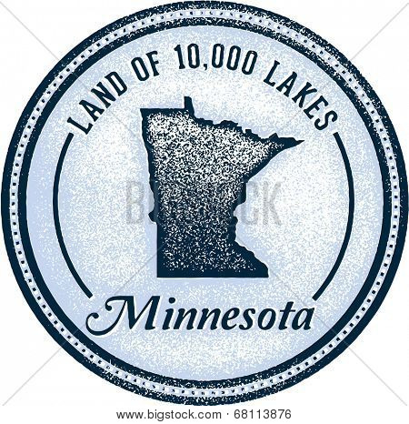Vintage Minnesota State Design Land of 10,000 Lakes