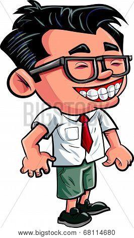 Cartoon cute nerd boy with glasses.