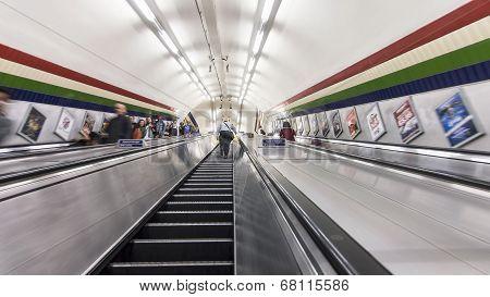Escalators transporting commuters