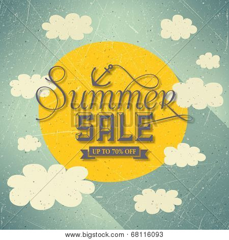 Summer Sale With Clouds And Sun