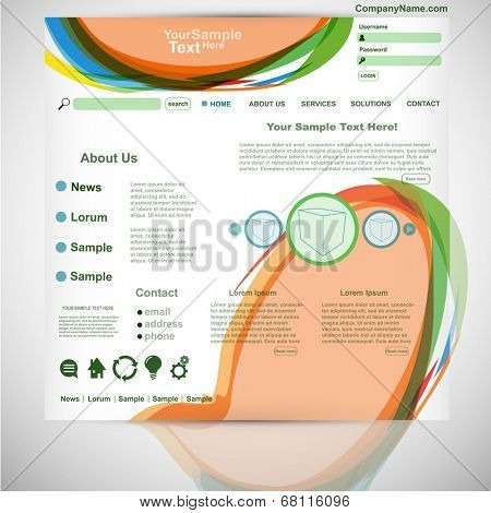 Colorful design website  template, vector