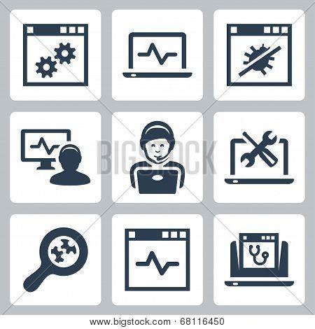 Computer Help-line Vector Icons Set