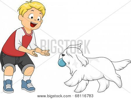 Illustration of a Little Boy Playing Fetch with His Dog