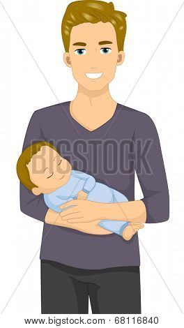 Illustration of a Man Holding a Sleeping Baby
