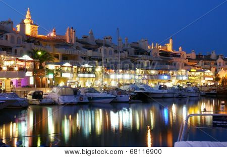 Benalmadena marina at dusk, Spain.