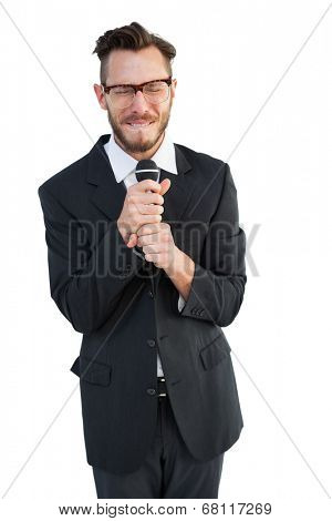 Hipster businessman giving a speech on white background