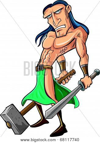 Cartoon barbarian with sword and hammer.