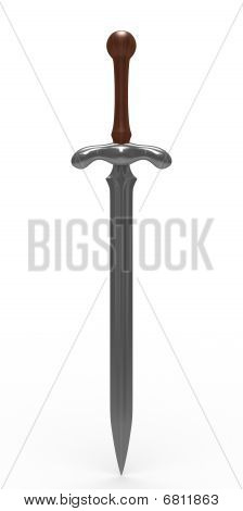 Sword On White Background. Isolated 3D Image