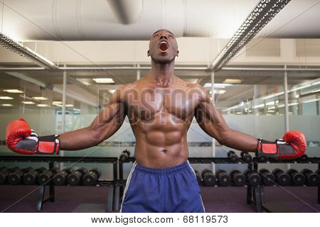 Shirtless muscular boxer shouting in health club