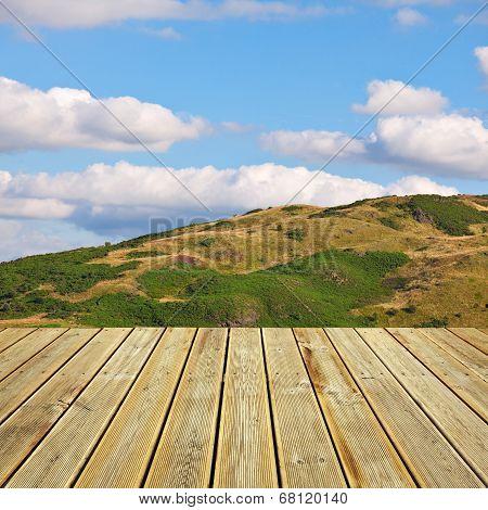Wooden Deck Floor And Summer Background
