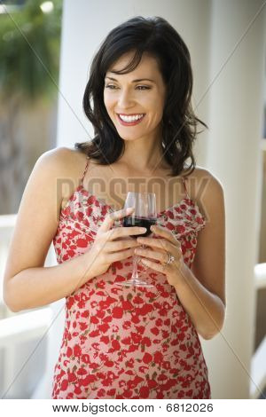 Woman Drinking Red Wine