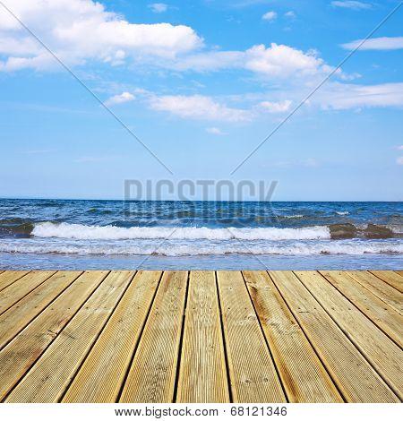 Wooden Deck Floor And Sea