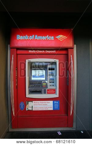 HOLLYWOOD, CALIFORNIA - TUES. JUNE 24, 2014: A Bank of America automated teller machine (ATM) in Hollywood, California, on Sunday, June 29, 2014.
