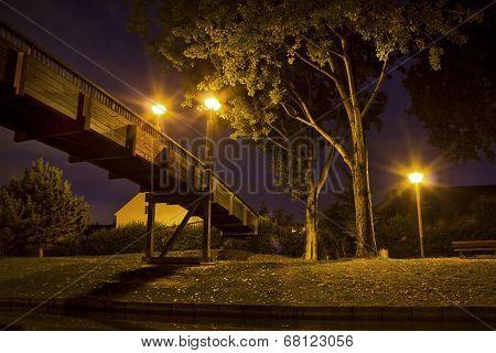 Wooden Bridge At Night In Paris