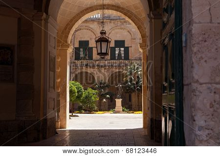 VALLETTA, MALTA - MAY 10 2014 : The door and archway allow access to the Grand Master's Palace