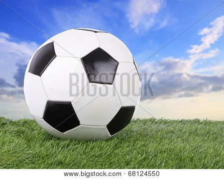 Stitch leather soccer ball on green field blur sky.
