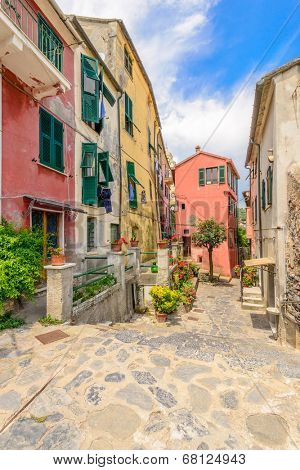 Traditional pictorial streets of old italian villages. Portovenere.