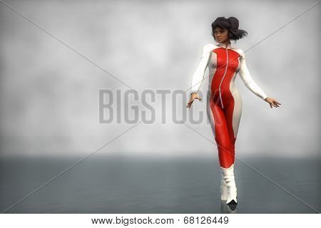 asian biker girl in red bodysuit