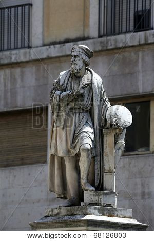 PARMA, ITALY - MAY 01, 2014: Parmigianino statue. Parma is famous for its ham, cheese and architecture. It is home to the University of Parma, one of the oldest universities in the world.