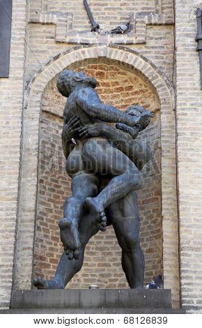 PARMA, ITALY - MAY 01,2014: Hercules and Hanteus. Parma is famous for its ham, cheese and architecture. It is home to the University of Parma, one of the oldest universities in the world.