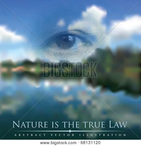 abstract illustration with river landscape, God's eye and proverb about nature