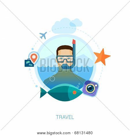Snorkeling man over sea waters vector illustration. Modern flat design icons concept for travel, lei