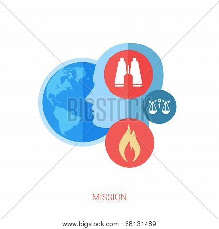 Mission flat design icon concept. Internet advertising business development, internet marketing rese