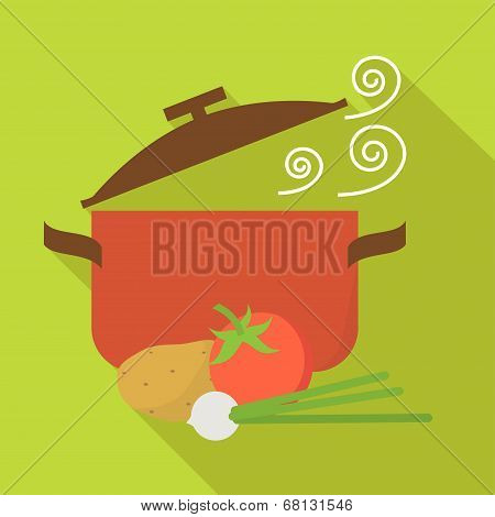 Food and cooking vector icons, Vegetarian soup. Flat design vector.