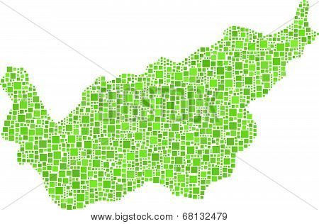 Map of The Canton of Valais