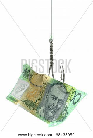 Australian Dollar Banknote Baited Hook