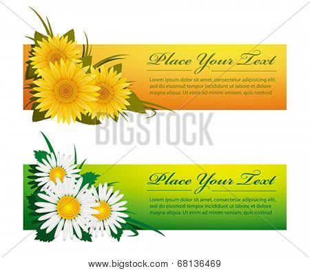 Colorful floral banners. Vector format EPS 8, CMYK.