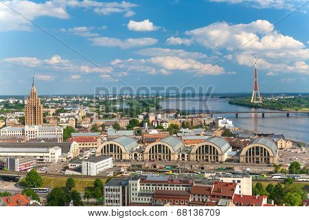 Panoramic view on the center of Riga