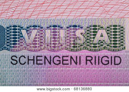 Fragment of the Schengen visa of Estonia