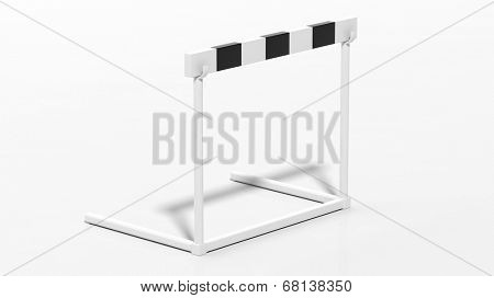 One black and white hurdle isolated on white