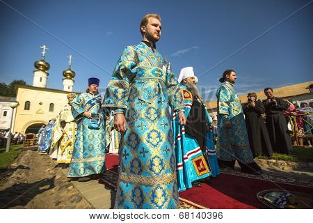 TIKHVIN, RUSSIA - JUL 9, 2014: Bishop Tikhvin and Lodeinopolskiy Mstislav celebrate Orthodox divine Liturgy on occasion celebrations of 10th anniversary of return of the Tikhvin icon of Mother of God.