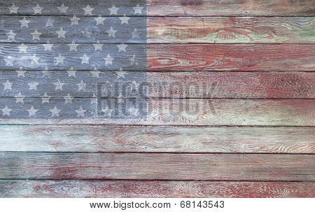 Vintage American Flag On A Barnside