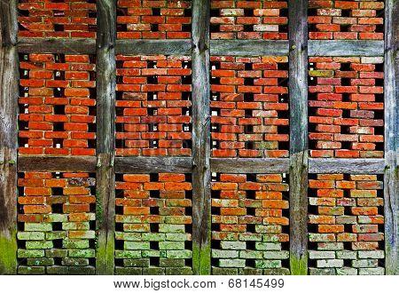 Brick Wall Of  Half Timbered House