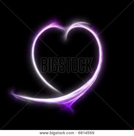 Abstract Heart Of Pink Colour On A Black Background