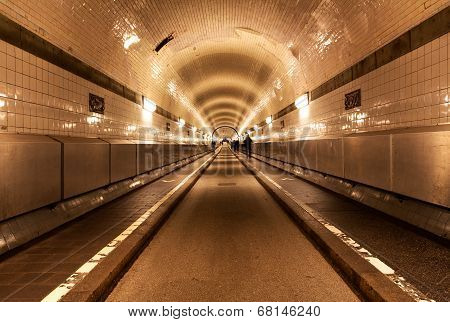 Old Tunnel Under The River Elbe In Hamburg