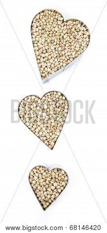 Buckwheat In Heart Shapes