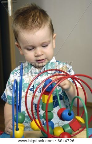 Toddler boy with toy