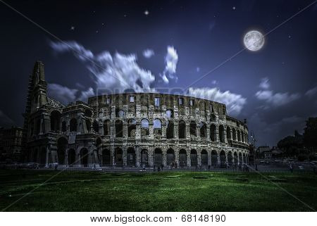 The Colosseum In Rome. Night View
