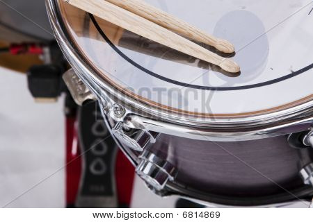 Drum Sticks Prepared For Playing