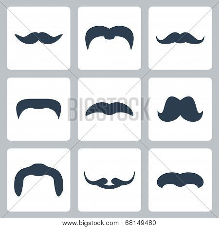 Icon Set Of Vector Mustaches